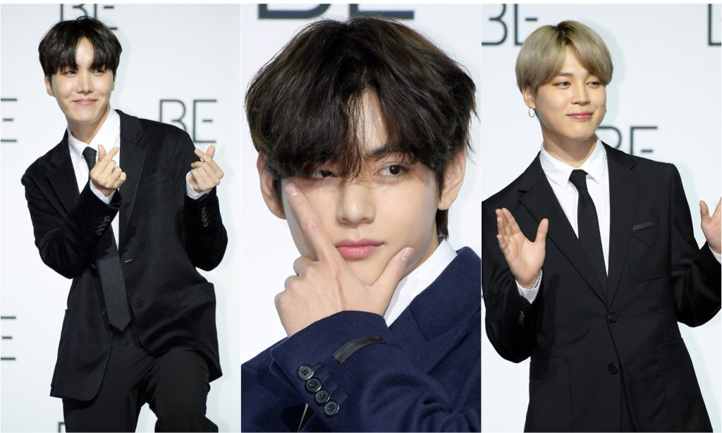 A joined photo of J-Hope, V, and Jimin of BTS at BTS' press conference for 'BE' in November 2020