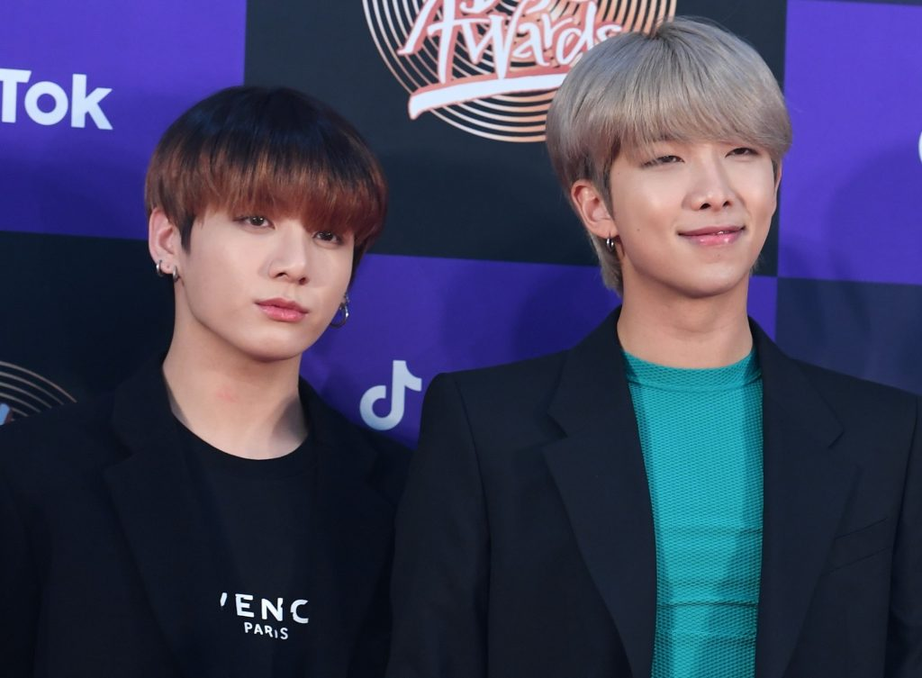 Jungkook and RM of BTS at the 34th Golden Disc Awards in 2020