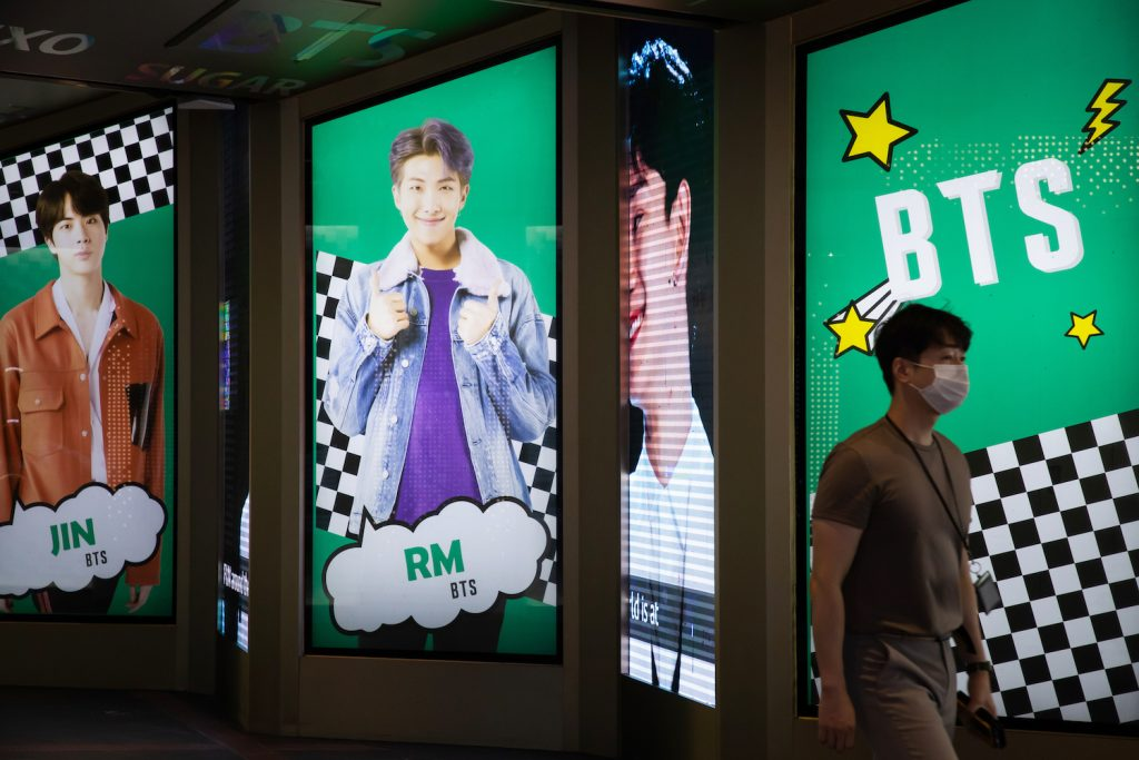 An advertisement for K-pop boy band BTS displayed in Seoul, South Korea