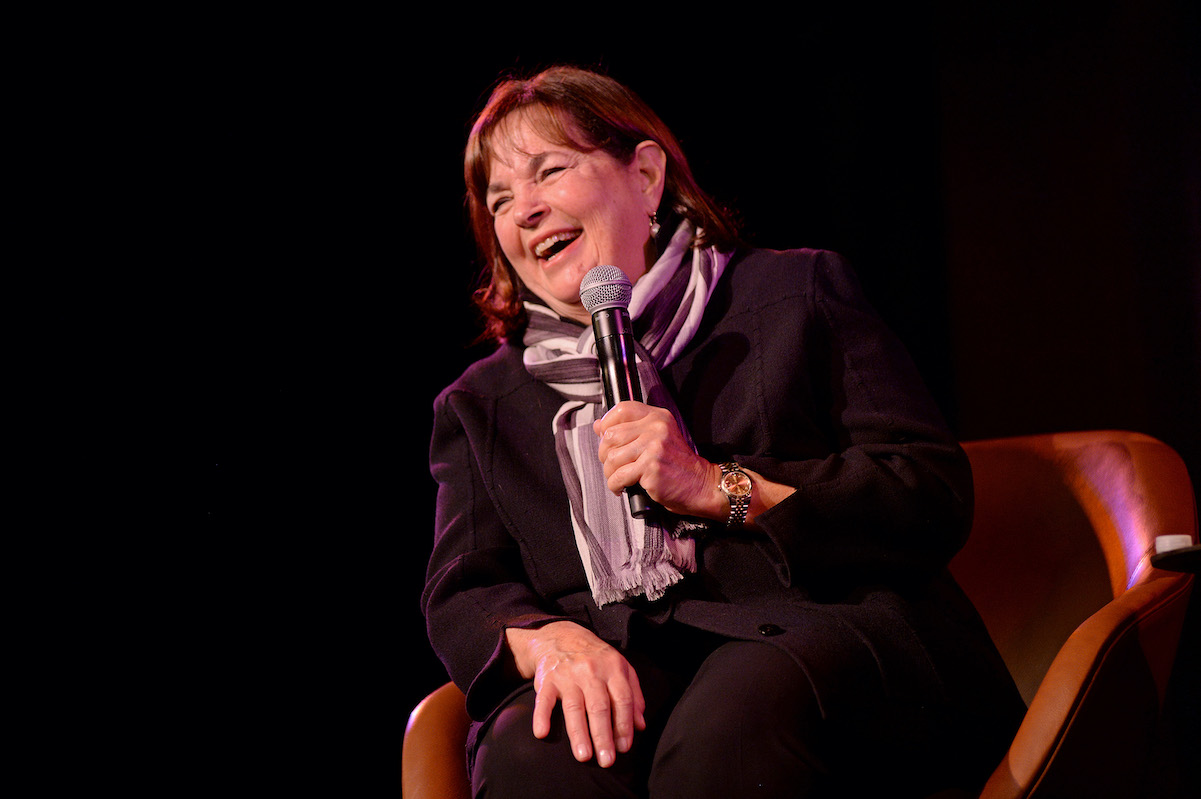 'Barefoot Contessa' star Ina Garten holds a microphone and laughs while at an event for The New Yorker in 2019