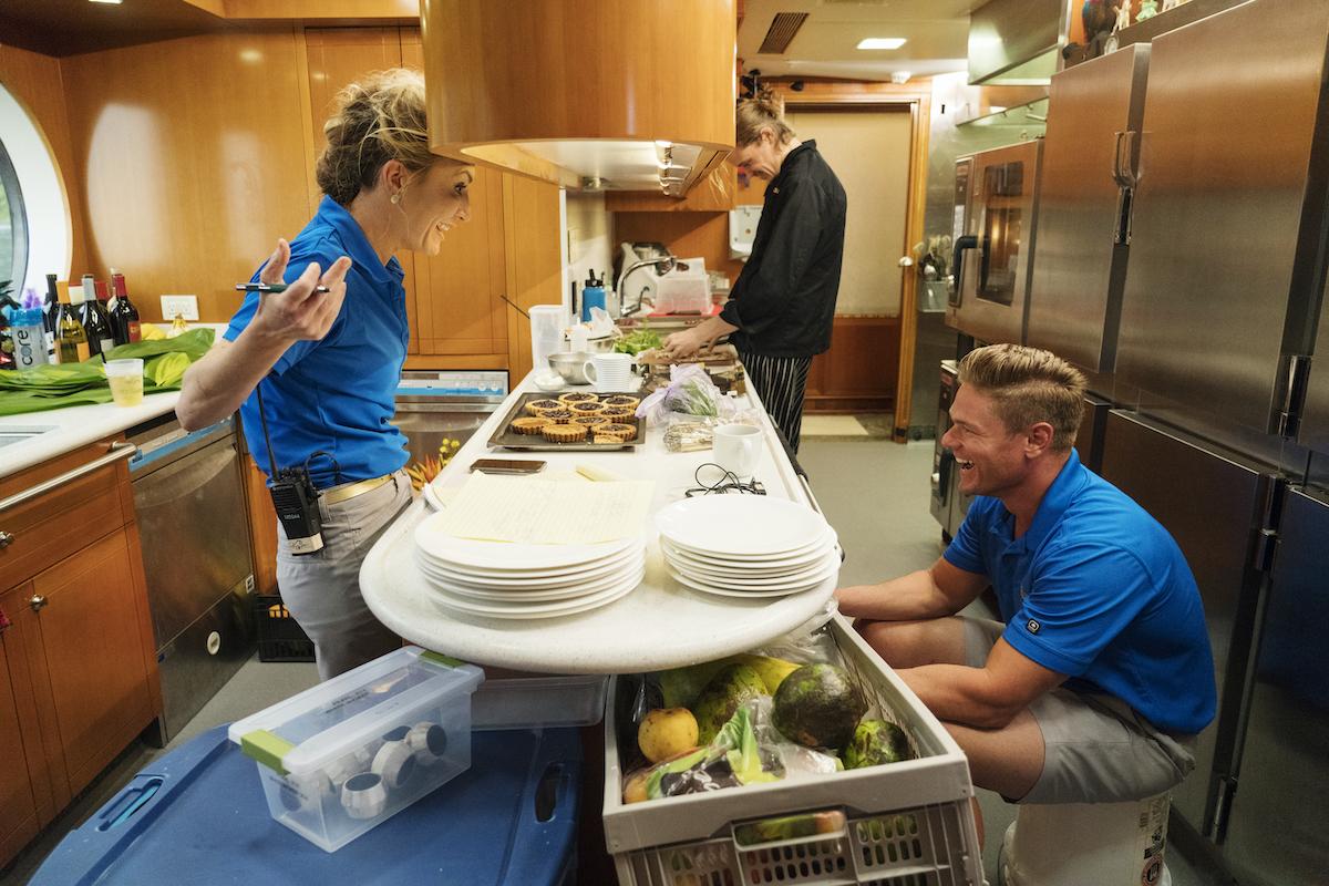 Kate Chastain, Adrian Martin, Ashton Pienaar laugh on My Seanna before a Below Deck Season 6 dinner