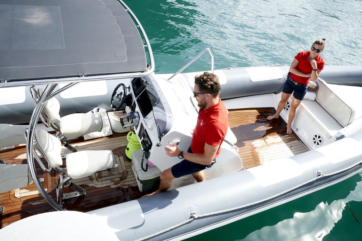 Robert Westergaard, Malia White drive a tender on Below Deck Mediterranean Season 5