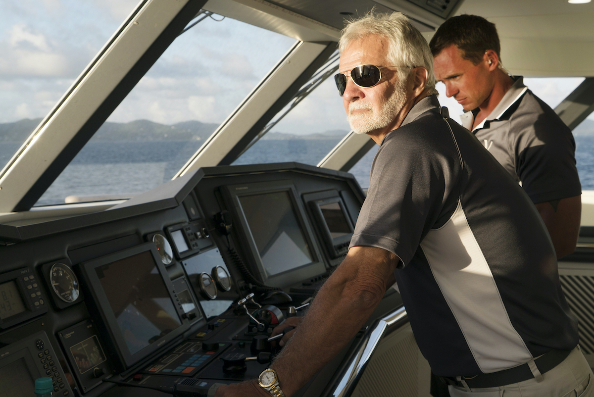 Captain Lee Rosbach and Kelley Johnson in the bridge on Below Deck