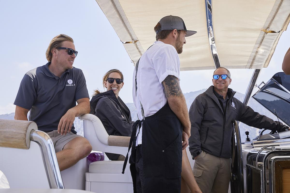 Paget Berry, Jenna MacGillivray, Adam Glick, Captain Glenn Shephard on Parsifal III during Below Deck Sailing Yacht Season 1