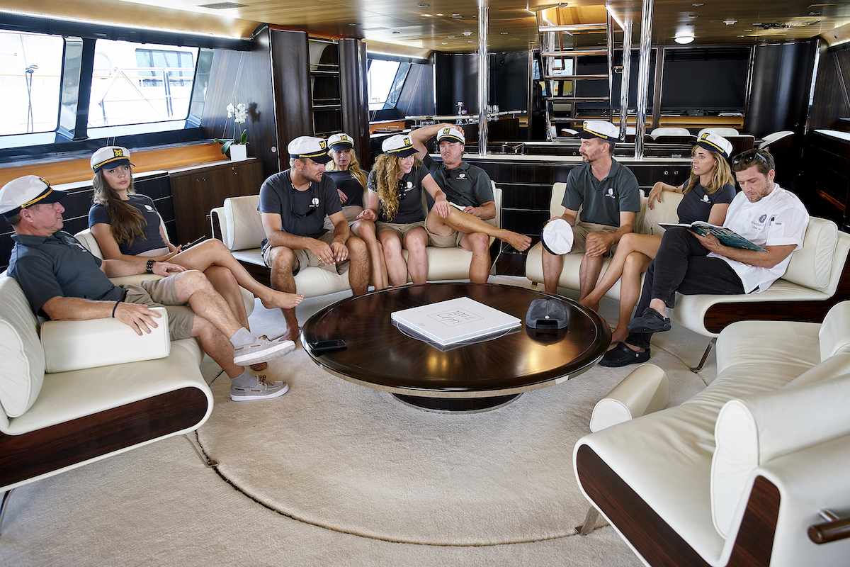 Below Deck Sailing Yacht Season 1 crew have a meeting: Captain Glenn Shephard, Georgia Grobler, Parker McCown, Madison Stalker, Ciara Duggan, Paget Berry, Byron Hissey, Jenna MacGillivray, Adam Glick