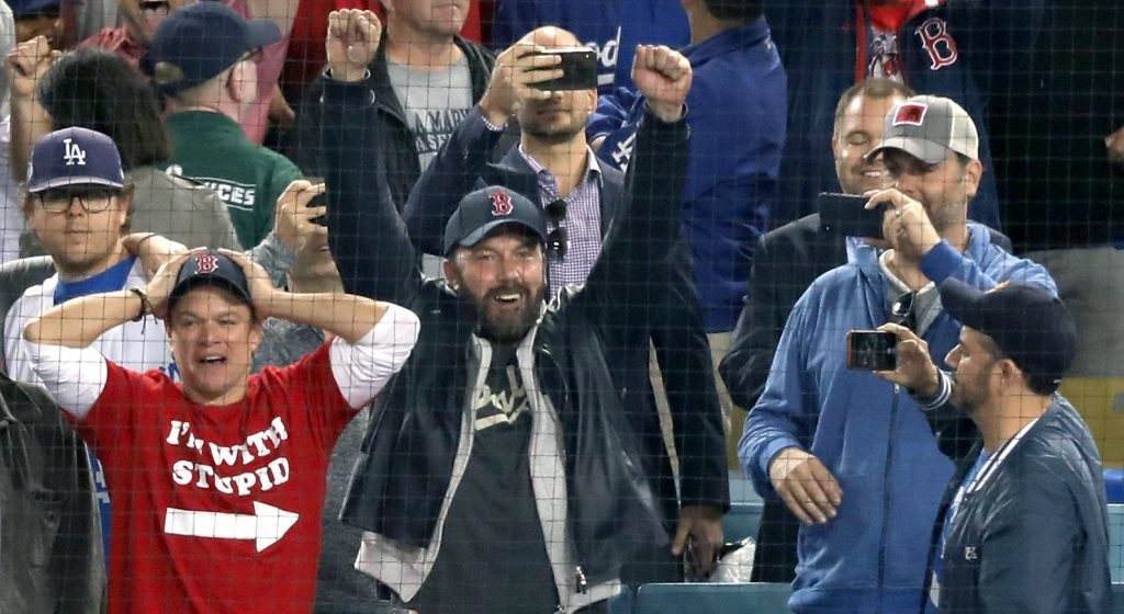 Ben Affleck cheers at the Red Sox win the 2018 World Series