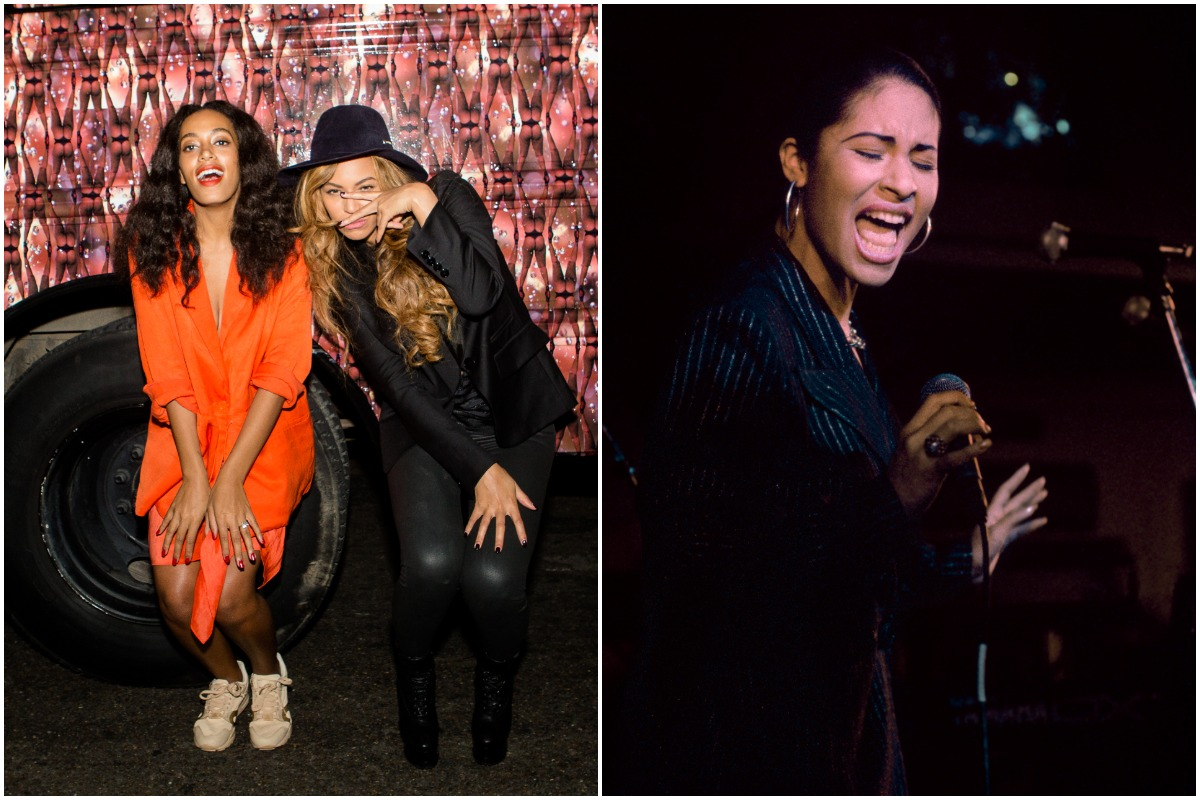 Beyoncé wearing an all-black outfit and Solange wearing an all-orange outfit posing for a photo at an event/ Selena Quintanilla singing while wearing a black suit.