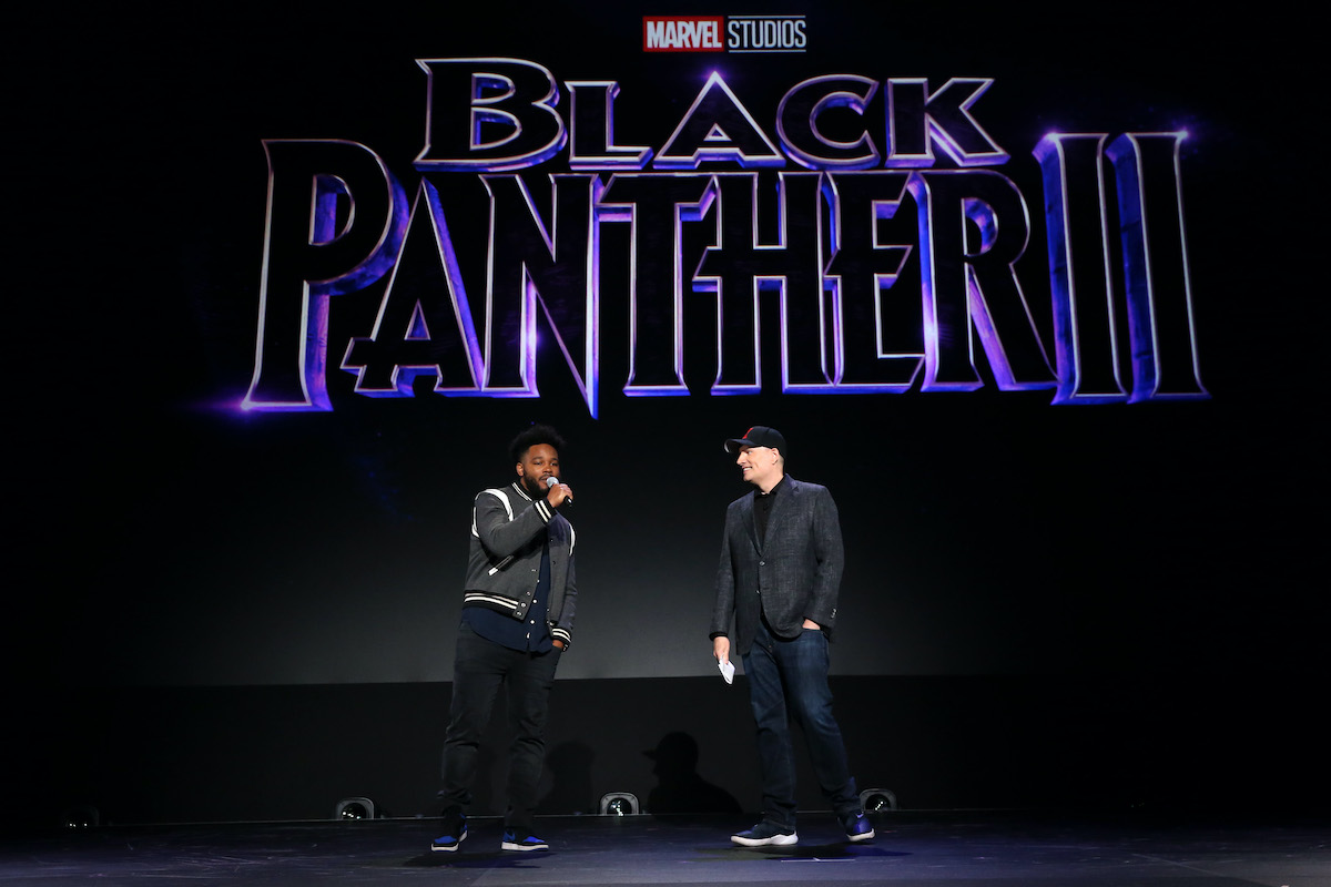 Ryan Coogler and Marvel Studios president Kevin Feige at Disney's D23 EXPO 2019 in Anaheim, Calif.