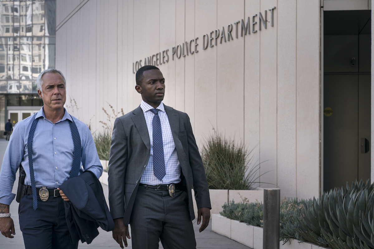 Harry Bosch and J Edgar outside LAPD headquarters in Bosch