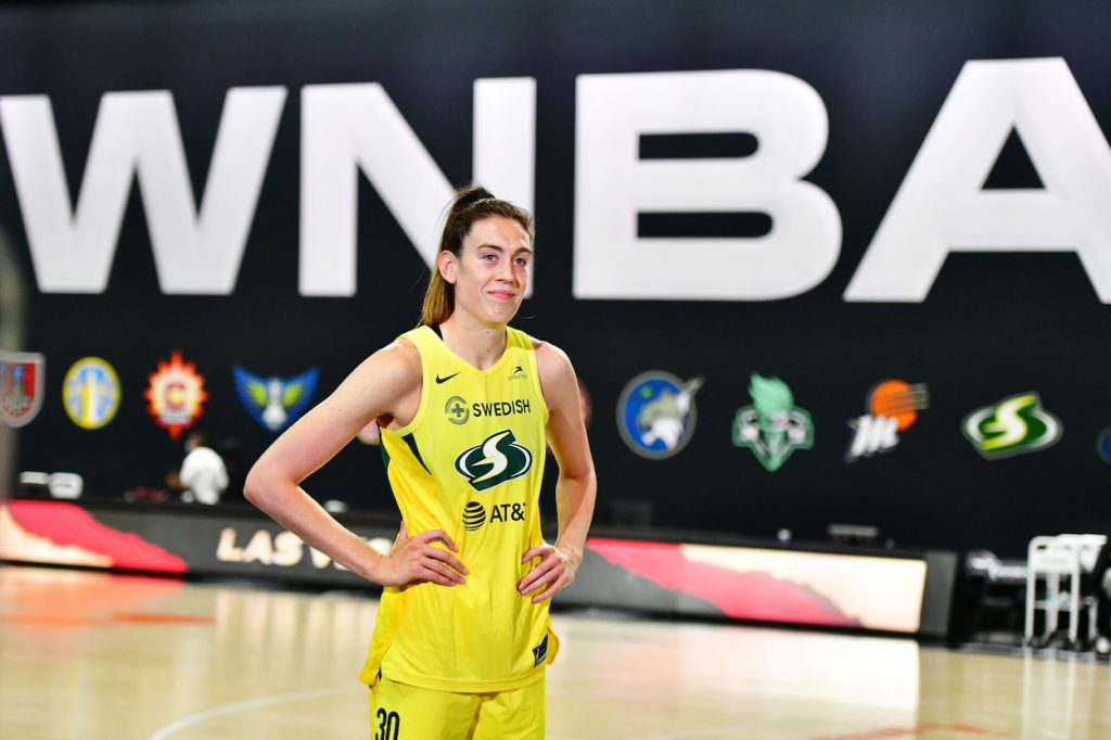 Breanna Stewart of the Seattle Storm is interviewed after a win over the Las Vegas Aces