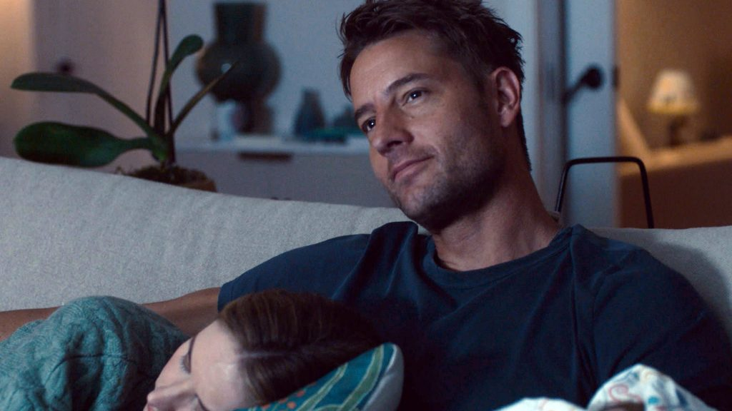 Caitlin Thompson as Madison Simmons sleeping on Justin Hartley as Kevin Pearson in 'This Is Us' Season 5 Episode 14
