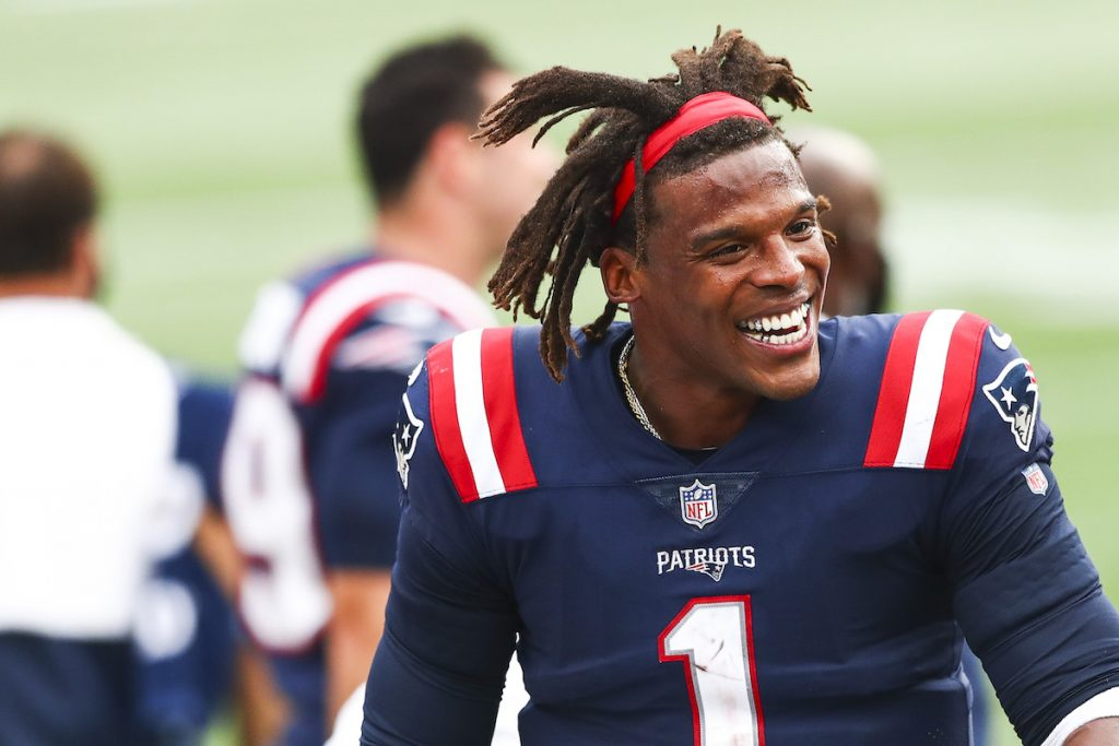 Cam Newton #1 of the New England Patriots reacts during a game against the Las Vegas Raiders