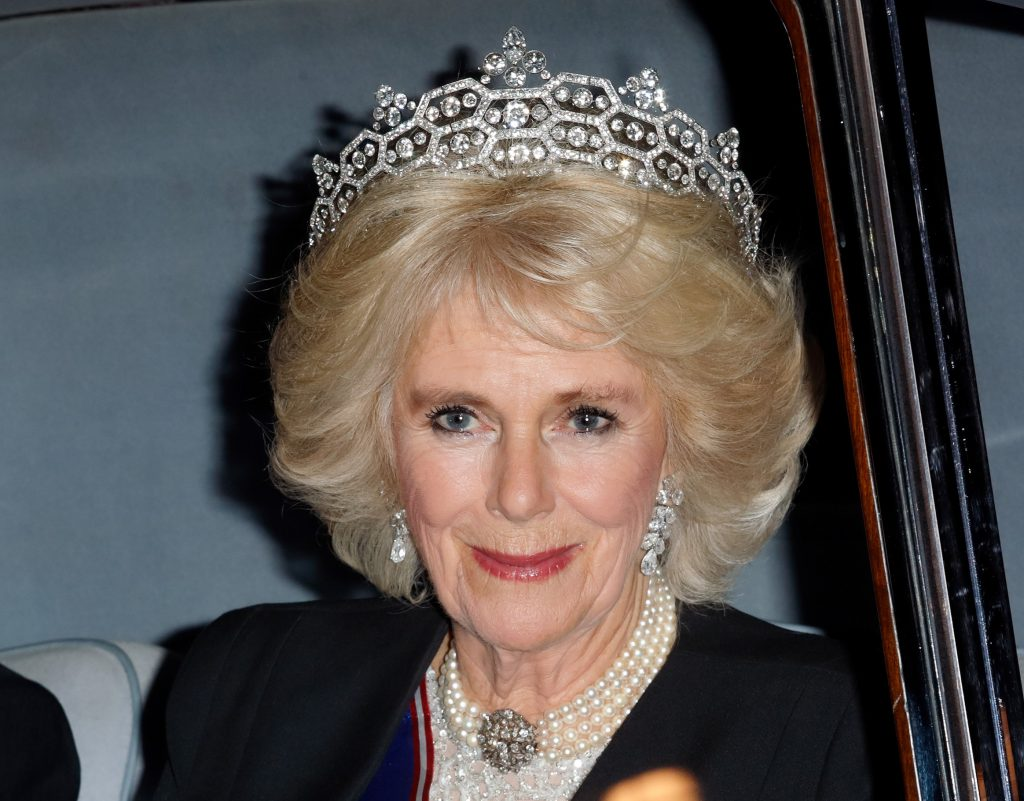 Camilla Parker Bowles attends the annual Diplomatic Reception at Buckingham Palace wearing pearls and a tiara