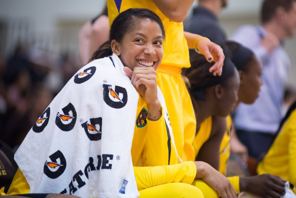 Candace Parker, then with the LA Sparks reacts during a game in 2018