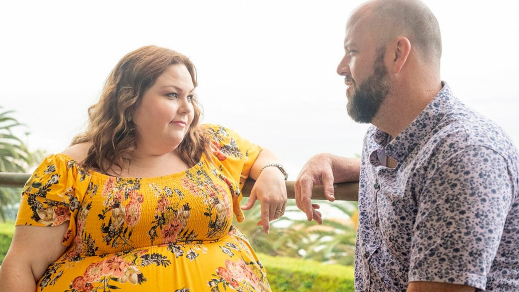 Chrissy Metz as Kate and Chris Sullivan as Toby talking in 'This Is Us' Season 5 Episode 16, 'The Adirondacks'