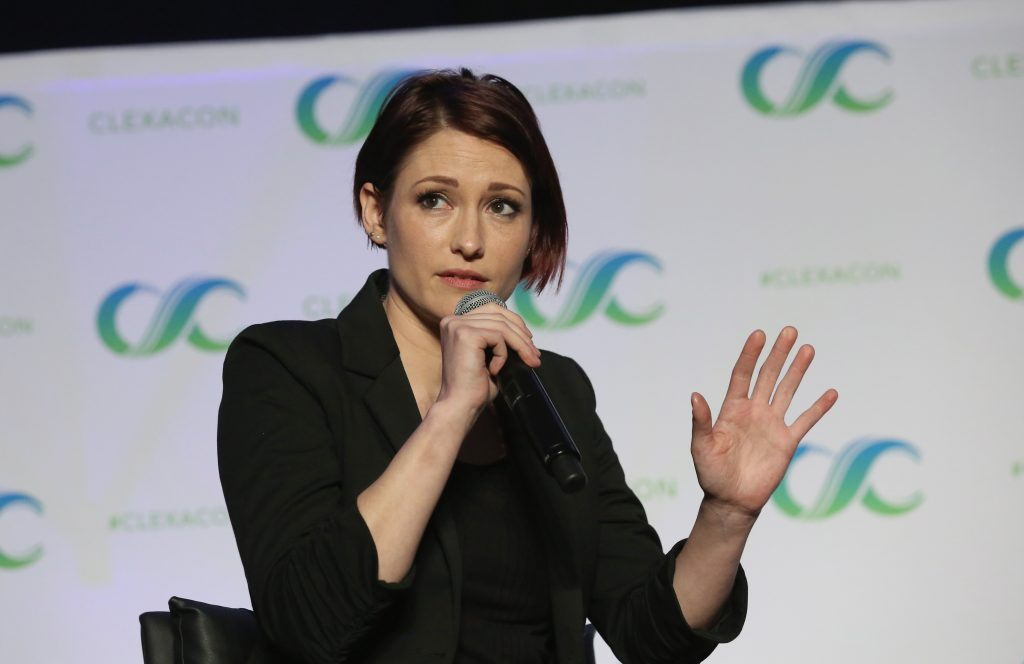 Chyler Leigh speaks at the 'Behind the Badge: Alex Danvers' panel during the ClexaCon 2018 convention at the Tropicana Las Vegas