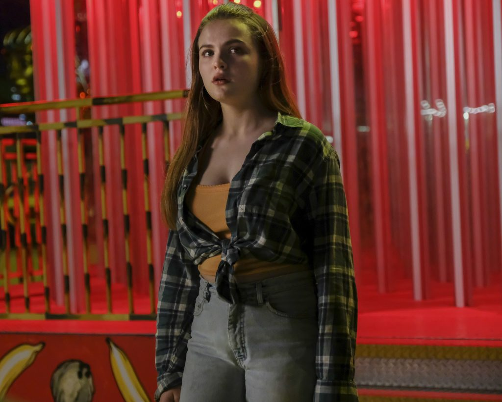 Cruel Summer Episode 5 Chiara Aurelia plays Jeanette Turner looking scared at the county fair
