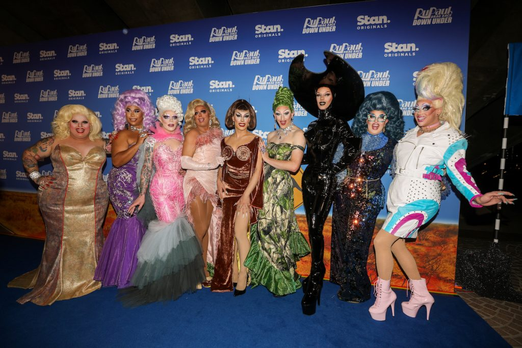 (Left to right) Maxi Shield, Coco Jumbo, Art Simone, Jojo Zaho, Etcetera Etcetera, Anita Wigl'it, Scarlet Adams, Karen From Finance and Kita Mean attend the premiere of RuPaul's Drag Race Down Under at the Opera de Sydney on April 30, 2021 in Sydney, Australia |  Caroline McCredie / Getty Images