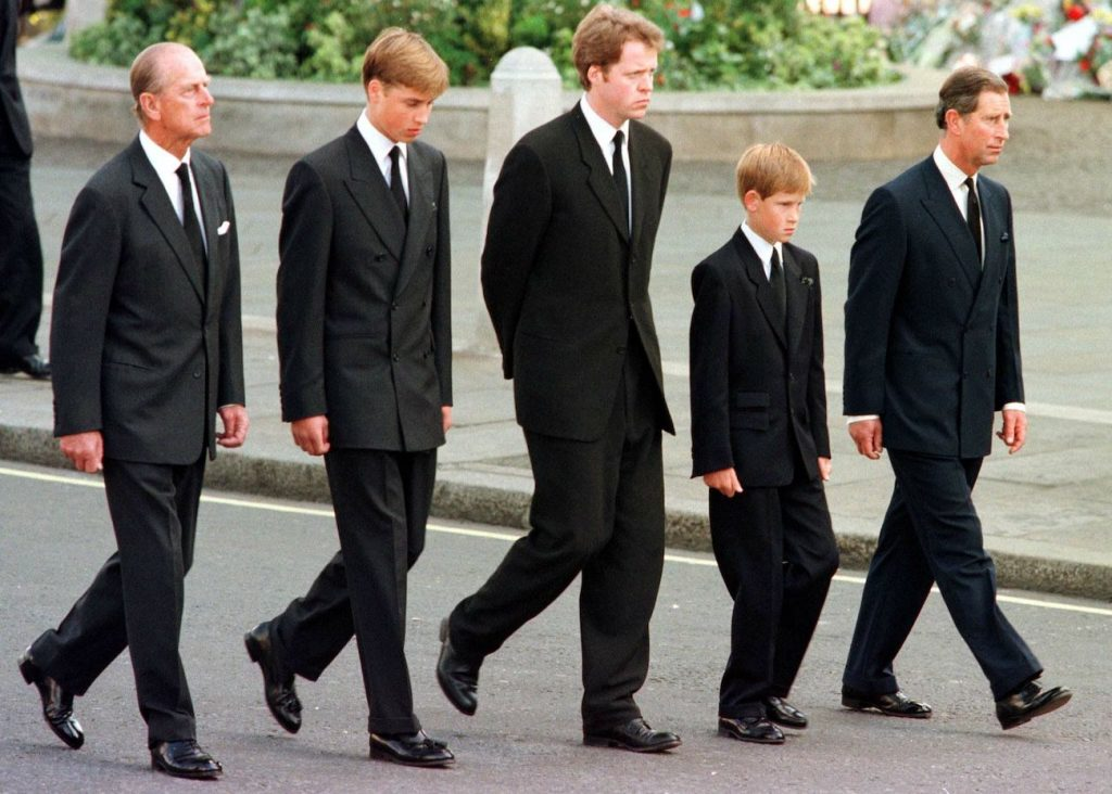 Prince Harry and family members walking at Princess Diana's funeral