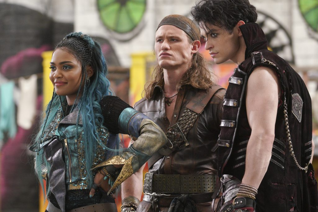 CHINA ANNE MCCLAIN, DYLAN PLAYFAIR, and THOMAS DOHERTY in Disney Channel's 'Descendants 3'