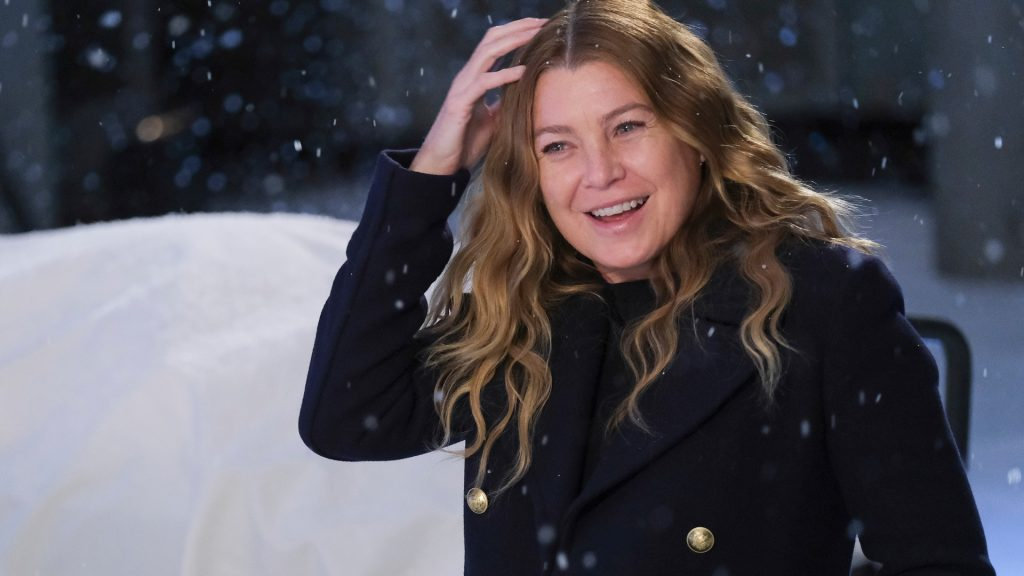 Ellen Pompeo as Meredith Grey brushing snow out of her hair in 'Grey's Anatomy' Season 17