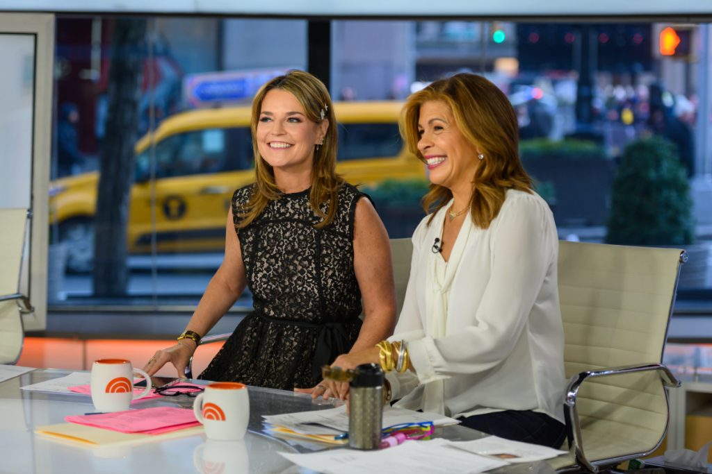'Today' co-anchors Savannah Guthrie and Hoda Kotb smile for the camera on the morning show's set