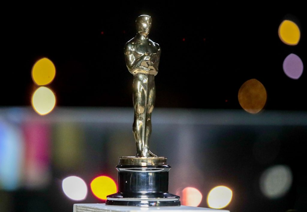 Oscar statue is seen during a screening of the Oscars on April 26, 2021