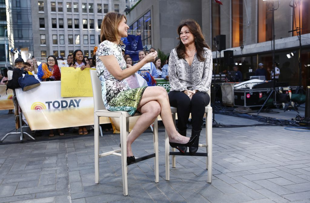 Valerie Bertinelli, right, sits out on the 'Today' plaza with co-anchor Savannah Guthrie