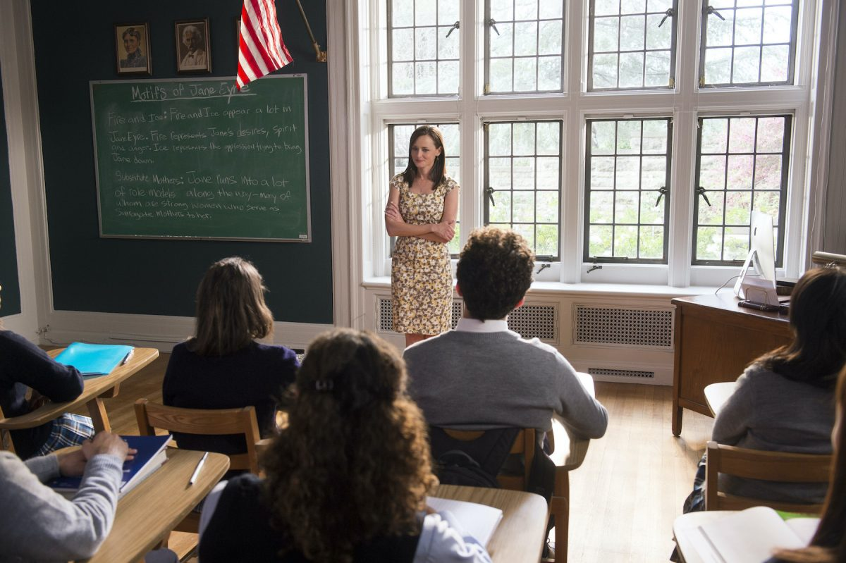 Rory Gilmore stands in front of a class of Chilton students in 'Gilmore Girls: A Year in the Life'