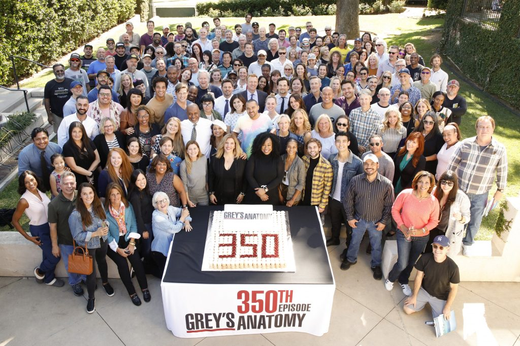 The 'Grey's Anatomy' cast and crew celebrating the 350th episode in the middle of season 16.