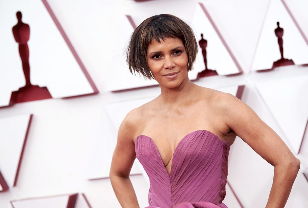 Oscar® presenter Halle Berry arrives on the red carpet of The 93rd Oscars® at Union Station in Los Angeles, CA on Sunday, April 25, 2021.
