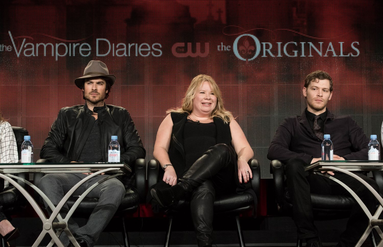 Ian Somerhalder, Julie Plec, and Joseph Morgan at a 'The Vampire Diaries' and 'The Originals' panel in 2015