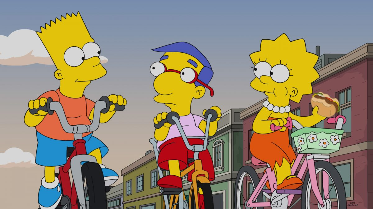 Itchy & Scratchy fans Bart, Milhouse and Lisa