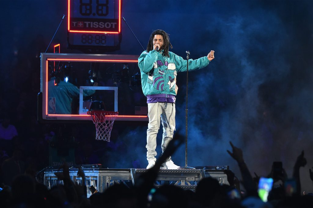 J. Cole performs at the  NBA All-Star Game at Spectrum Center on February 17, 2019 in Charlotte, North Carolina.