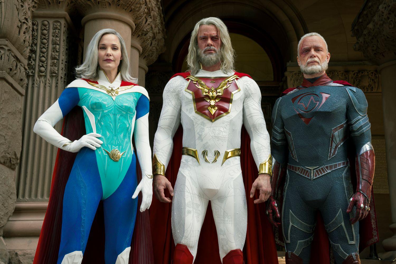JUPITER'S LEGACY (L-R) LESLIE BIBB as GRACE SAMPSON, JOSH DUHAMEL as SHELDON SAMPSON, and BEN DANIELS as WALTER SAMPSON
