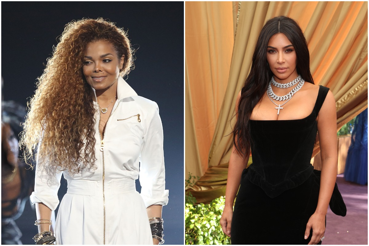 Janet Jackson wearing a white outfit and smiling at an awards show/ Kim Kardashian wearing a black dress an a diamond necklace on the red carpet.