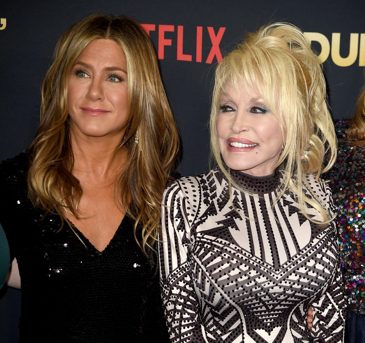 Jennifer Aniston and Dolly Parton at the premiere of Netflix's 'Dumplin''