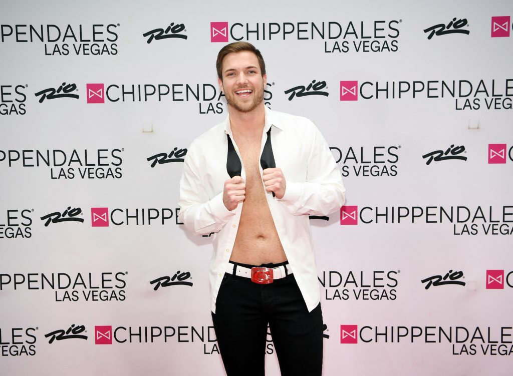 Jordan Kimball from 'Bachelor in Paradise' at a Chippendales event with his shirt unbuttoned