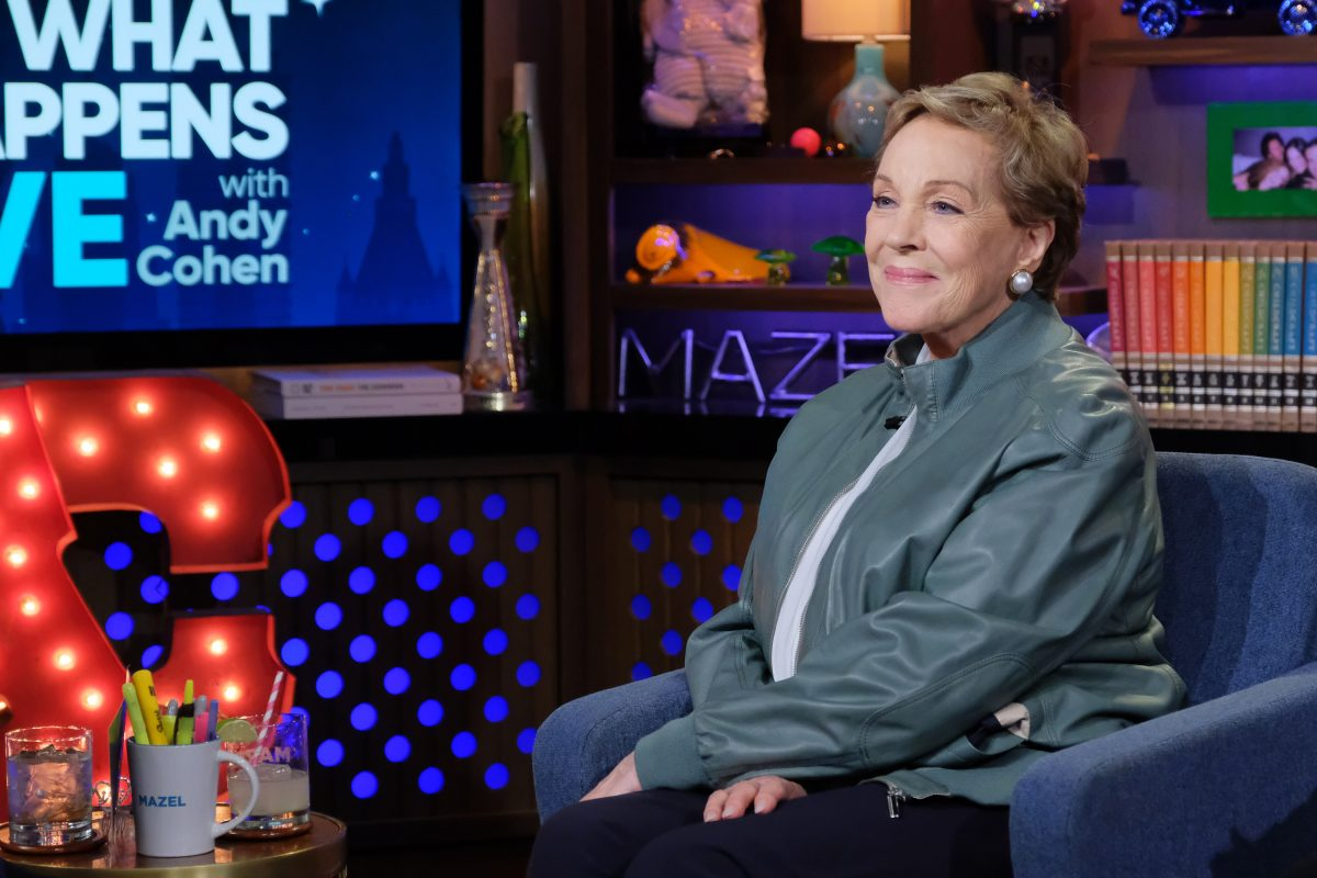 Julie Andrews sits in a chair on Watch What Happens Live