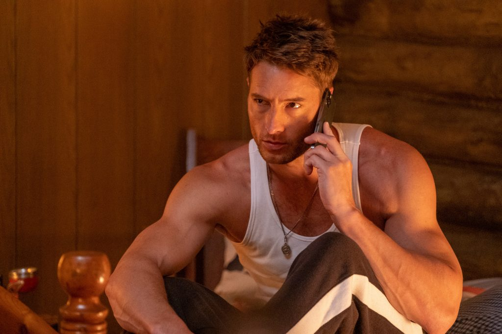 Justin Hartley as Kevin Pearson on a call in 'This Is Us' Season 5 Episode 15, 'Jerry 2.9'