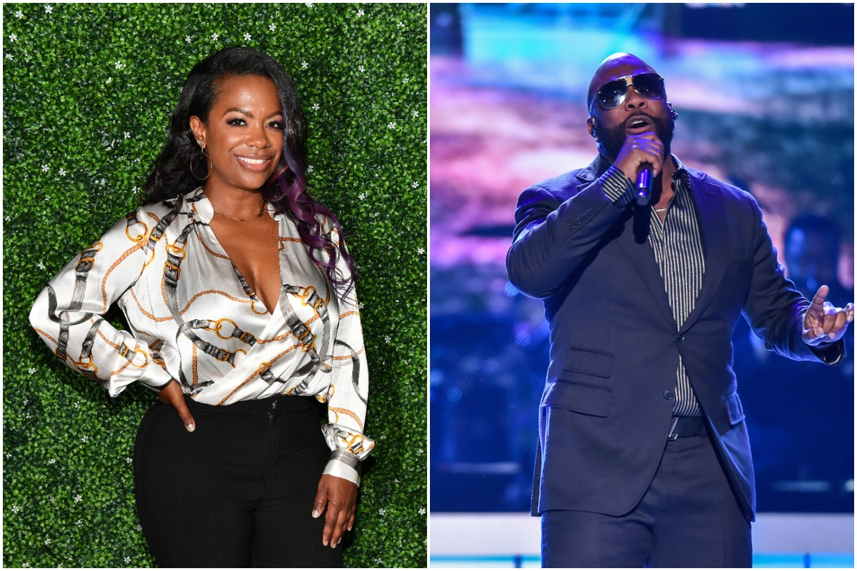 Kandi Burruss posing on the red carpet wearing a printed top and black pants with her hand on her hip/Boyz II Men singer Wanya Morris singing while wearing a black suit and striped shirt.