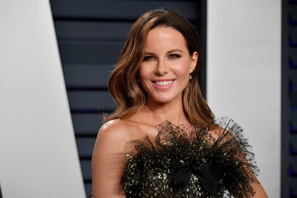 Kate Beckinsale wearing black tulle and smiling
