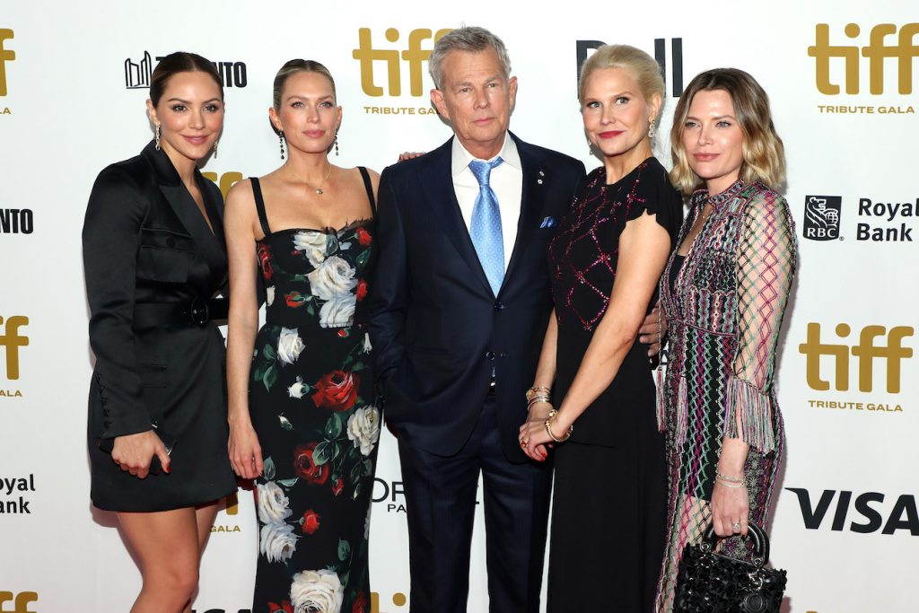 Katharine McPhee and David Foster with three of Foster's daughters