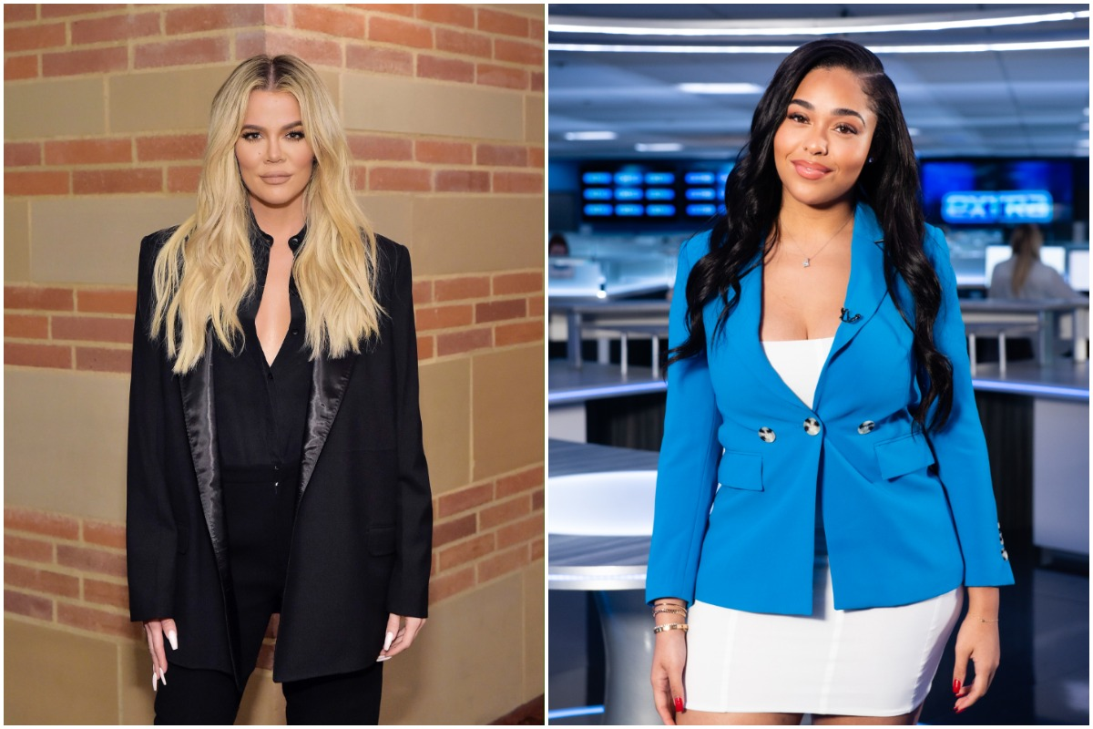 Khloé Kardashian wearing a black suit while posing for the camera/ Jordyn Woods wearing a white dress and a blue blazer while appearing on 'Extra'