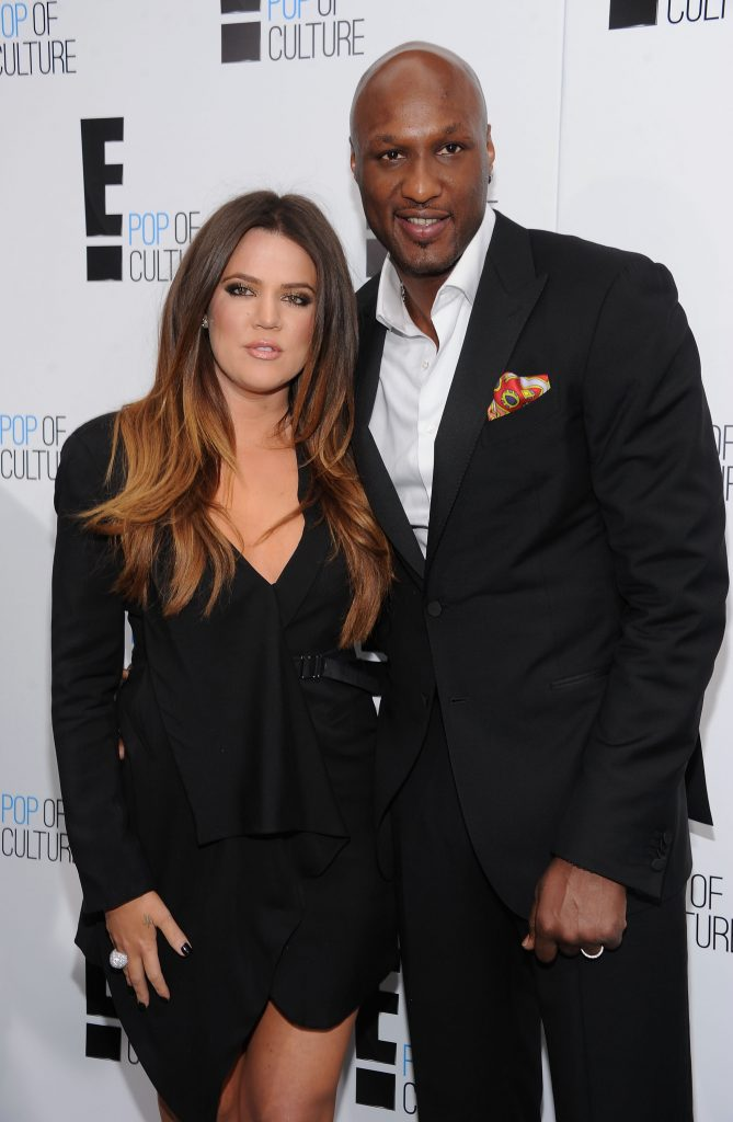 Khloe Kardashian and Lamar Odom attend an E! party together in 2012