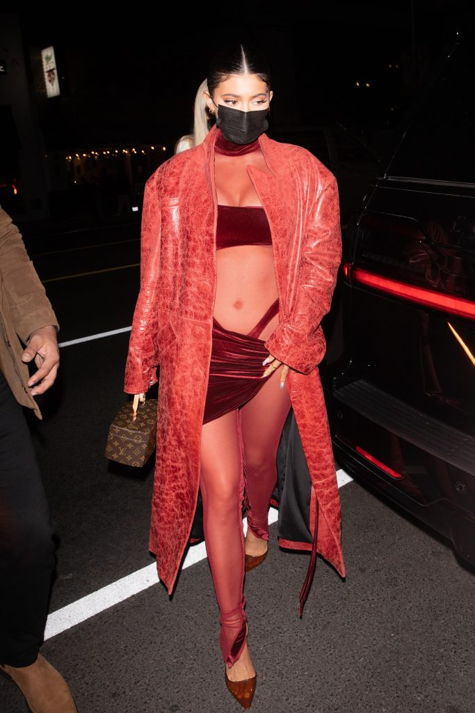 Kylie Jenner seen arriving at The Nice Guy in burgundy ensemble