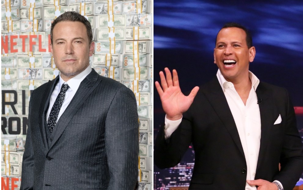 (L): Ben Affleck posing for photos on the red carpet posing for photos at the Triple Frontier world premiere, (R): Alex Rodriguez arriving on the set of 'The Tonight Show Starring Jimmy Fallon'