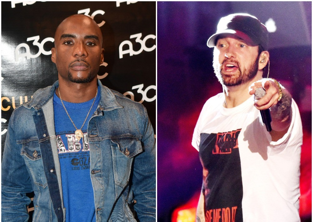 (L) Charlamagne tha God poses for photo on the carpet at the A3C Festival and Conference in Atlanta, (R) Eminem performing onstage at a music & arts festival in