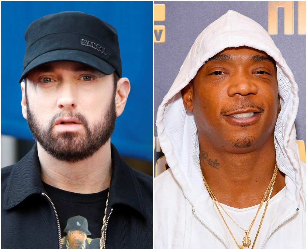 (L) Eminem in a black hat, tee, and jacket (R) Ja Rule in a white hoodie at the premiere
