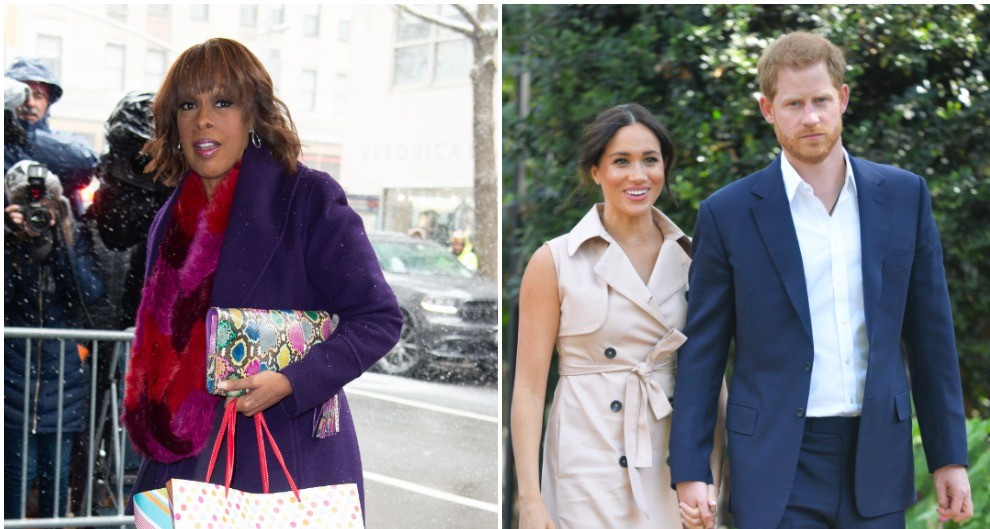(L) Gayle King arriving at Meghan Markle's baby shower in NYC, (R) Prince Harry and Meghan Markle holding hands at event in South Africa